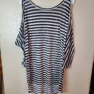 Free People Cold Shoulder Striped Boho Tunic Top